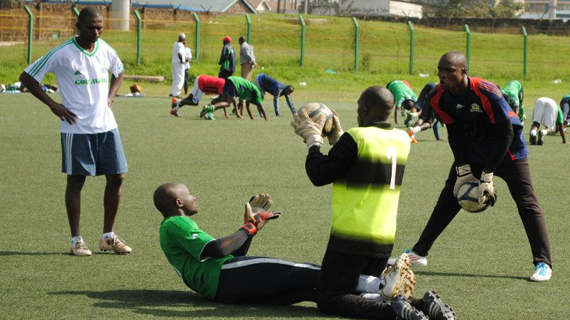 Idd Salim (left) during a training session