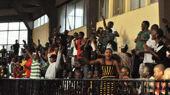 BASKETBALL fans at the Nyayo gymnasium