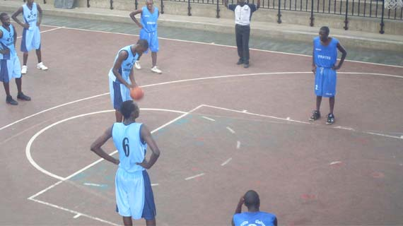 KCA University basketball team during a past league match at Nyayo