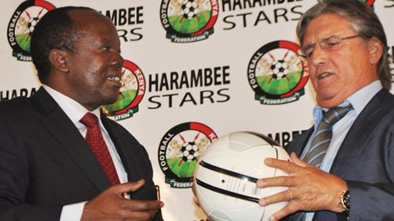 Henri Michel and FKF boss Sam Nyamweya