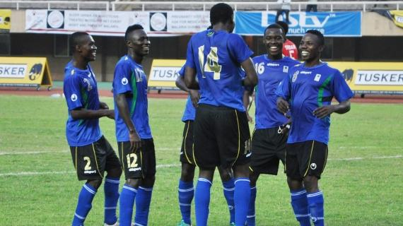 Tanzania celebrating their goal against Sudan