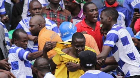 Tusker fan undressed at Kasarani